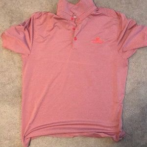 Orange and Gray Striped Under Armour Golf Polo